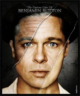 O CURIOSO CASO DE BENJAMIN BUTTON (2008 – Estados Unidos), uma fábula sobre o envelhecimento. Dirigido por David Fincher, com Brad Pitt, Cate Blanchett e Julia Ormond, esse drama gira em torno de um extraordinário ser que nasceu com a aparência de alguém com oitenta anos. Ao invés de envelhecer com o passar do tempo, Button rejuvenesce. Ainda criança ele conhece Daisy (Cate Blanchett), da mesma idade que ele, por quem se apaixona. É preciso esperar que ela cresça, tornando-se uma mulher, e que Benjamin rejuvenesça para que, quando tiverem idades parecidas, possam enfim se envolver.